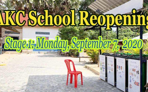 AKC School Reopening – September 2020