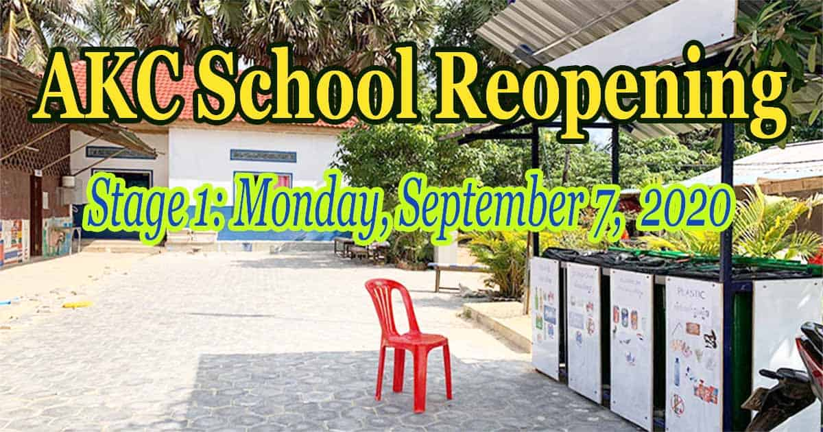 AKC School Reopening – September 2020